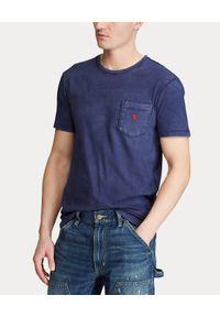 Ralph Lauren - RALPH LAUREN - Granatowy t-shirt z kieszonką. Typ kołnierza: polo. Kolor: niebieski. Materiał: bawełna. Wzór: haft, aplikacja