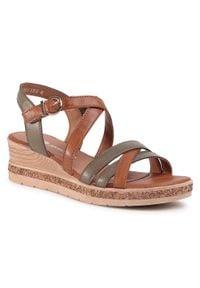 Brązowe sandały Remonte na co dzień, na obcasie, na średnim obcasie