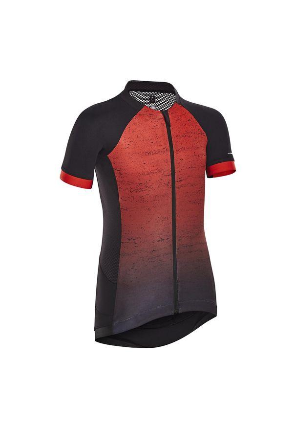 BTWIN - Koszulka krótki rękaw na rower 900 dla dzieci. Kolor: czarny, wielokolorowy, czerwony. Materiał: poliester, elastan, materiał. Długość rękawa: krótki rękaw. Długość: krótkie. Sport: kolarstwo
