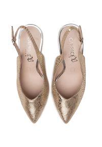 Beżowe sandały Caprice eleganckie, na średnim obcasie, na obcasie