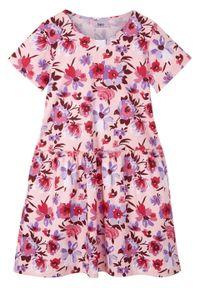 Sukienka dziewczęca z dżerseju z bawełny organicznej bonprix pastelowy jasnoróżowy. Kolor: różowy. Materiał: bawełna, jersey. Wzór: kwiaty