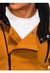 Ombre Clothing - Bluza męska rozpinana z kapturem B297 - ruda - XXL. Typ kołnierza: kaptur. Kolor: brązowy. Materiał: bawełna, dzianina, poliester