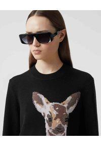 Burberry - BURBERRY - Wełniany sweter z jelonkiem. Kolor: czarny. Materiał: wełna. Długość rękawa: długi rękaw. Długość: długie. Wzór: aplikacja, nadruk