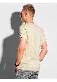 Ombre Clothing - T-shirt męski bawełniany basic S1369 - jasnożółty - XXL. Kolor: żółty. Materiał: bawełna. Styl: klasyczny