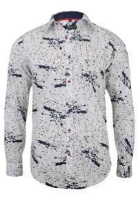 Bello - Oryginalna Koszula Wizytowa - BELLO - Taliowana, Długi Rękaw, Abstrakcyjny Wzór. Okazja: do pracy, na spotkanie biznesowe. Kolor: niebieski. Materiał: bawełna. Długość rękawa: długi rękaw. Długość: długie. Styl: wizytowy
