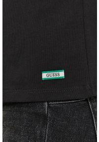 Czarna bluzka Guess z nadrukiem, na urodziny, casualowa