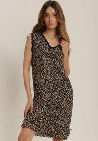 Renee - Czarna Koszula Nocna Sapheosis. Kolor: czarny. Materiał: wiskoza, koronka. Wzór: motyw zwierzęcy, koronka, aplikacja, nadruk