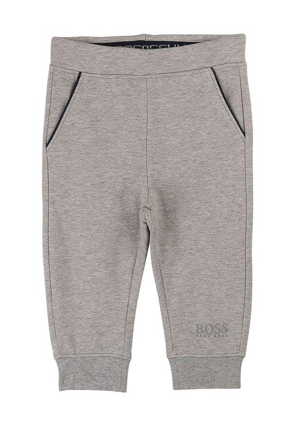 Szare spodnie dresowe BOSS na co dzień, z nadrukiem