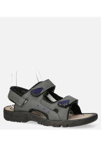 Szare sandały Casu na rzepy