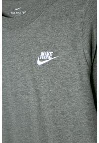 Szary t-shirt Nike Kids gładki, casualowy