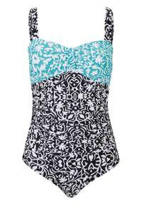Kostium kąpielowy bandeau bonprix biało-jasnoniebiesko-czarny w graficzny wzór. Kolor: biały. Wzór: nadruk