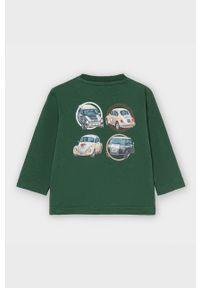Zielona koszulka z długim rękawem Mayoral z okrągłym kołnierzem, na co dzień, casualowa, z nadrukiem