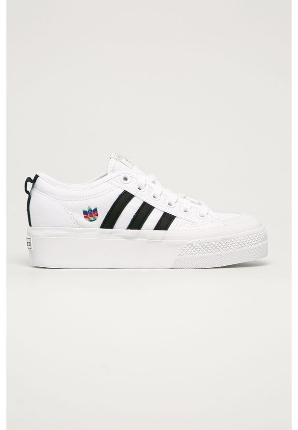 Białe tenisówki adidas Originals z cholewką, z okrągłym noskiem