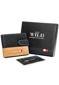 ALWAYS WILD - Portfel męski czarno-beżowy Always Wild N1662L-R-RFID BL+TAN. Kolor: wielokolorowy, beżowy, czarny. Materiał: skóra