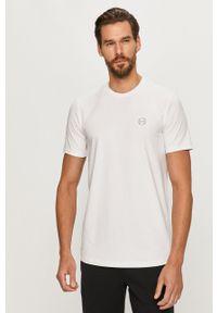 Armani Exchange - T-shirt. Okazja: na co dzień. Kolor: biały. Materiał: dzianina. Wzór: aplikacja. Styl: casual