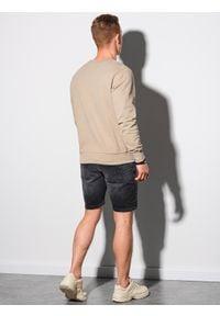 Ombre Clothing - Bluza męska bez kaptura bawełniana B1146 - beżowa - XXL. Typ kołnierza: bez kaptura. Kolor: beżowy. Materiał: bawełna. Styl: elegancki, klasyczny