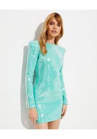 ALEXANDRE VAUTHIER - Niebieska sukienka z cekinami. Kolor: niebieski. Materiał: wiskoza. Długość rękawa: długi rękaw. Długość: mini