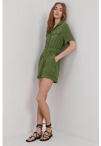 Roxy - Kombinezon. Okazja: na co dzień. Kolor: zielony. Materiał: tkanina. Wzór: gładki. Styl: casual