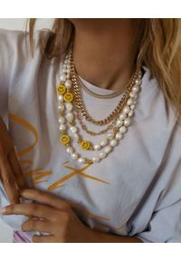 SELFIE JEWELLERY - Naszyjnik z pereł ASAP Smiley. Kolor: biały. Wzór: kolorowy. Kamień szlachetny: perła