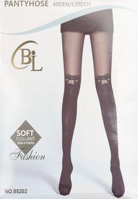Born2be - Czarne Rajstopy Nemyle. Kolor: czarny. Materiał: materiał, guma. Wzór: aplikacja