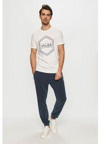 Jack & Jones - T-shirt. Okazja: na co dzień. Kolor: biały. Materiał: dzianina. Wzór: nadruk. Styl: casual