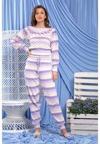 Fobya - Uroczy Komplet w Paski Bluzka i Spodnie - Fioletowy. Kolor: fioletowy. Materiał: bawełna. Wzór: paski