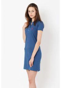 Niebieska sukienka Edward Orlovski z haftami, sportowa, sportowa, polo