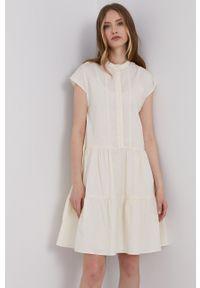 Samsoe & Samsoe - Samsoe Samsoe - Sukienka. Kolor: beżowy. Materiał: tkanina. Długość rękawa: krótki rękaw. Wzór: gładki. Typ sukienki: rozkloszowane #1