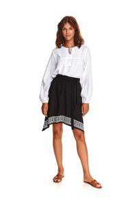 TOP SECRET - Asymetryczna spódniczka z nadrukiem. Kolor: czarny. Materiał: dzianina. Długość: długie. Wzór: nadruk. Styl: wakacyjny