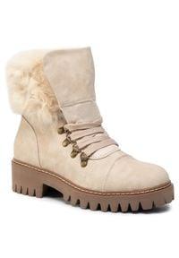 Beżowe buty trekkingowe Jenny Fairy z cholewką, z aplikacjami
