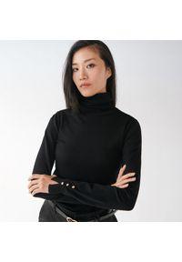 Czarny sweter Mohito gładki, z golfem