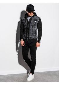 Czarna kurtka Ombre Clothing z kapturem, klasyczna