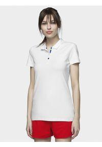4f - Koszulka polo damska. Okazja: na co dzień. Typ kołnierza: polo. Kolor: biały. Materiał: bawełna, jersey, dzianina, materiał. Styl: casual