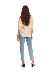 TOP SECRET - Krótka koszula damska w kratę z bufiastymi rękawami. Typ kołnierza: kołnierzyk stójkowy. Kolor: beżowy. Materiał: tkanina. Długość: krótkie. Wzór: kratka. Sezon: jesień