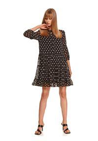 TOP SECRET - Sukienka w grochy z wiązaniem pod szyją i falbaną. Kolor: czarny. Wzór: grochy. Typ sukienki: koszulowe