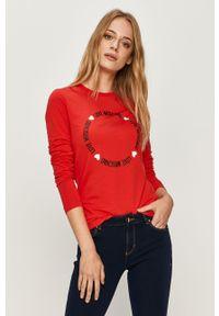 Czerwona bluzka z długim rękawem Love Moschino na co dzień, z nadrukiem, z okrągłym kołnierzem