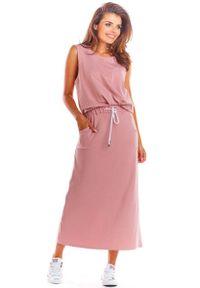 Infinite You - Różowa Prosta Długa Spódnica Ołówkowa. Kolor: różowy. Materiał: bawełna, lycra. Długość: długie