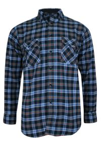 ForMax - Koszula Casualowa w Kratkę Niebiesko-Granatową, 100% Bawełna, Flanelowa, Slim, Długi Rękaw -FORMAX. Okazja: na co dzień. Kolor: niebieski. Materiał: bawełna. Długość rękawa: długi rękaw. Długość: długie. Wzór: kratka. Styl: casual