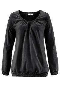 Czarna bluzka bonprix z długim rękawem, długa