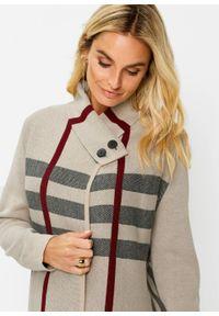 Długi sweter rozpinany bonprix beżowo-czarno-bordowy w kratę. Kolor: brązowy. Długość: długie