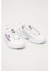 Białe sneakersy Fila z okrągłym noskiem, na sznurówki