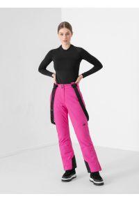 4f - Spodnie narciarskie membrana 8000 damskie. Kolor: różowy. Materiał: poliester. Sezon: zima. Sport: narciarstwo