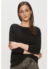 Czarny sweter Vila z długim rękawem, długi, gładki