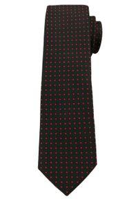 Oryginalny Męski Krawat w Drobne Groszki - 6 cm - Angelo di Monti, Czarny. Kolor: czarny. Wzór: grochy