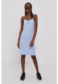Tommy Jeans - Sukienka. Kolor: niebieski. Materiał: dzianina, bawełna. Długość rękawa: na ramiączkach. Wzór: aplikacja. Typ sukienki: dopasowane