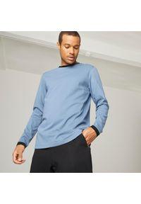 DOMYOS - Koszulka z długim rękawem męska Nyamba Gym & Pilates. Materiał: bawełna, poliester, materiał, elastan. Długość rękawa: długi rękaw. Długość: długie. Sport: joga i pilates