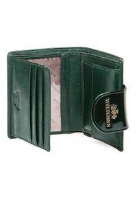 Wittchen - Damski portfel ze skóry lakierowany z ozdobną napą. Kolor: zielony. Materiał: lakier, skóra. Wzór: aplikacja