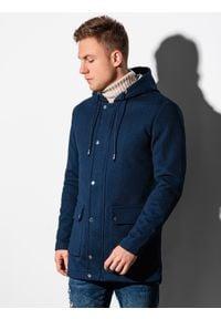 Ombre Clothing - Płaszcz męski wiosenny C454 - granatowy - XXL. Typ kołnierza: kaptur. Kolor: niebieski. Materiał: elastan, dzianina, poliester. Sezon: wiosna