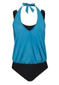 Kostium kąpielowy bonprix niebieskozielony morski - czarny. Kolor: niebieski