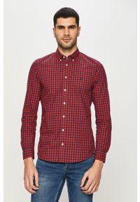 Czerwona koszula Marc O'Polo casualowa, z aplikacjami, długa